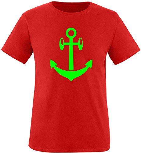 EZYshirt® Anker Maritim Herren Rundhals T-Shirt Rot/Neongrün