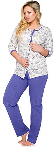 Merry Style Damen Schlafanzug 2126 Blau-K2