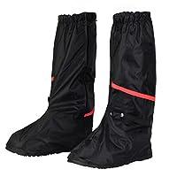 KEESIN Waterproof Shoes Cover Reusable Rain Boots Cover Slip-Resistant Reflective Zippered Overshoes for Outdoor Activities (9.5-10.5 UK:33cm) Black
