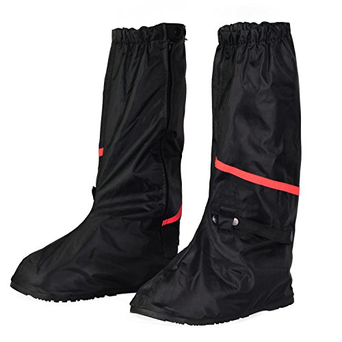 KEESIN Waterproof Shoes Cover Reusable Rain Boots Cover Slip-Resistant Reflective Zippered Overshoes for Outdoor Activities Black