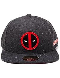 Deadpool Metal Badge Logo Snapback Cap gris oscuro-rojo