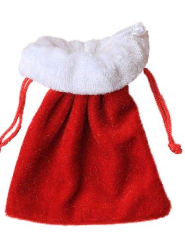 Small Christmas Festive Red and White Velvet Gift Bag Xmas Gifts