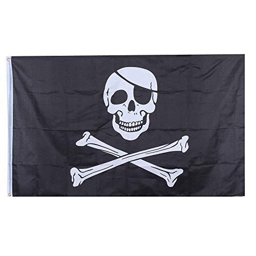 del und Knochen-Flagge 90 x 150cm Polyester-Pirat, der Fahnen-Thema-Partei-Geisterschiff-Dekoration hängt ()
