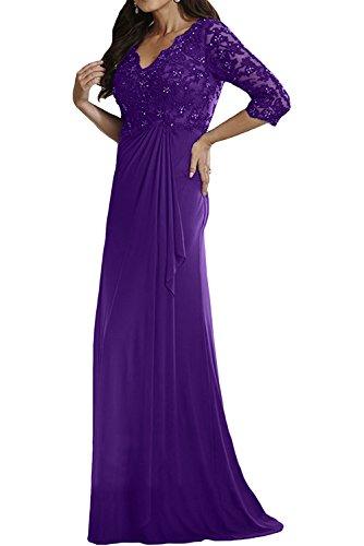 Charmant Damen Jaeger Gruen Langes Abendkleider Brautmutterkleider mit Spitze Langarm Damen Festlichkleider Violett