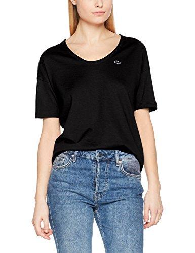 Lacoste Damen T-Shirt TF3049, Schwarz (Noir 031), 32(Hersteller Größe: 34)