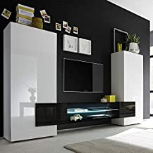 Amazonfr Meuble Tv Mural Laque Noir