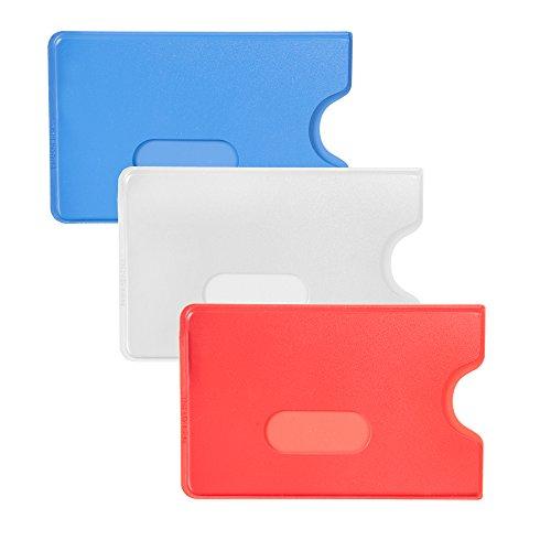 Karteo® Scheckkartenhülle Kreditkartenhülle Kartenschutzhülle Ausweishülle Ausweishüllen Kartenhülle Kartenhüllen (54 x 86 mm) Kartenhalter Halter aus Plastik Hartplastik transparent für 1 eine Karte Ausweise Kreditkarten Dienstausweise EC Karte Bankkarten Gesundheitskarten weiß
