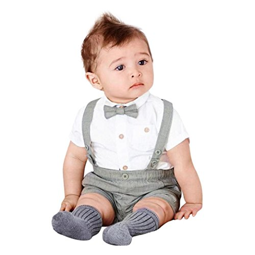 Baby Jungen Mädchen Sommer Herren Bowtie Kurzarm Shirt + Hosenträger Shorts Set (Khaki, 3 jahr)