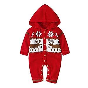Trajes de una Pieza para bebés recién Nacidos Niños Niñas Sudaderas con Capucha de Invierno de Navidad Mono de Ganchillo… 12