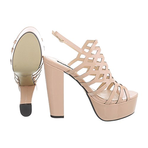 Ital-Design High Heel Sandaletten Damenschuhe High Heel Sandaletten Pump High Heels Schnalle Sandalen & Sandaletten Beige