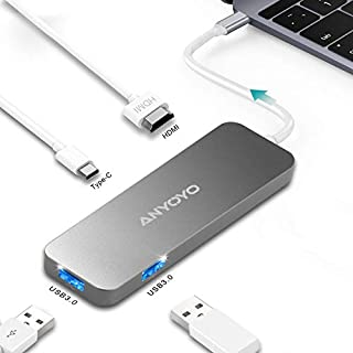 Typec Hub HDMI,ANYOYO 2 USB 3.0 Ports HDMI 4K Quick Charging Digital Multiport Adapter for MacBook,Chromebook,Pixel,Phone,Hard Flash Drive,Windows and More with USB-C Devices