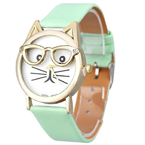 Tongshi Gafas lindo gato Mujeres cuarzo analógico Dial reloj de pulsera (Azul)
