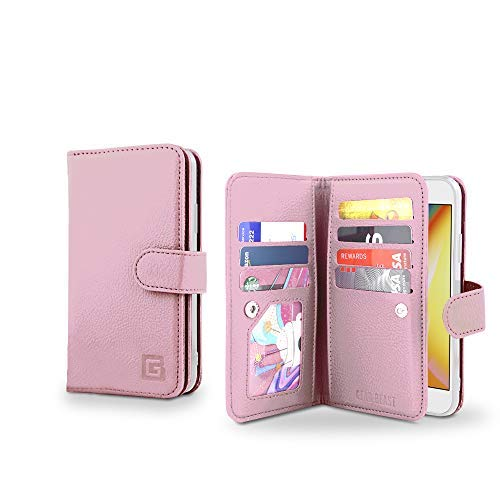 Gear Beast iPhone 8/7 Wallet Case, Flip Cover Dual Folio PU-Leder Schutz Hülle Slim 7 Kartenfächern, inkl. ID Holder-Plus Cash/Eingang Taschen für Damen und Herren Bonus Displayschutzfolie, Rose Gold