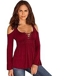 FEITONG Mujeres Algodón atractivas Suelta de manga larga Las tapas ocasionales de la blusa 6 colores