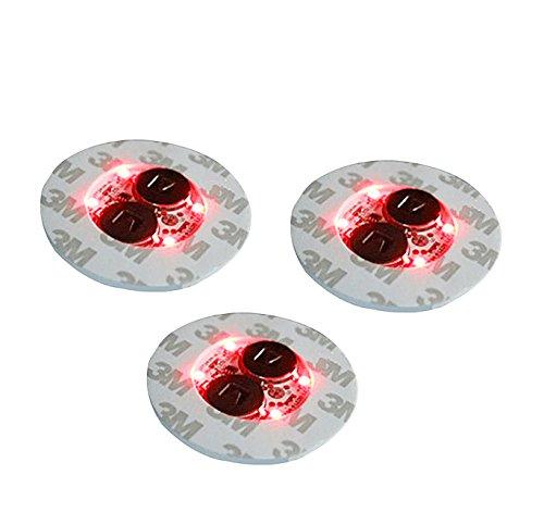 Rouge Mini 4LED Light Up Bouteille Stickers Glorifier Dessous-de-verre pour boire bouteilles–Lot de 3