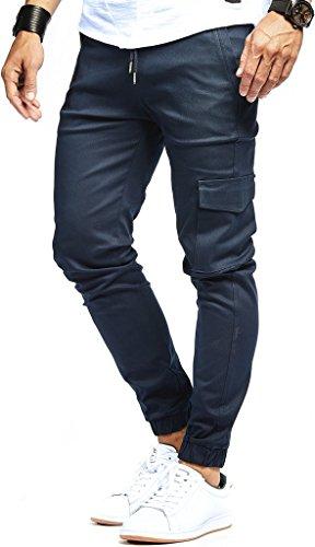 LEIF NELSON Herren Jogger Chino Cargo Jeans Hose Freitzeithose LN8071; Größe XL; Blau