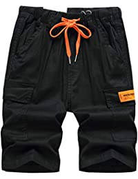 YoungSoul Pantalones Cortos Niño Bermudas Cargo con Bolsillo en Contraste