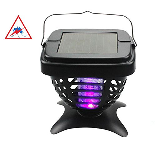 Solar powered mosquito lamp. Ideal for indoors and outdoors to attract and kill insects with the ultraviolet LED light at low voltage. It also serves as a general night light. (Outdoor-led-low-voltage-beleuchtung)