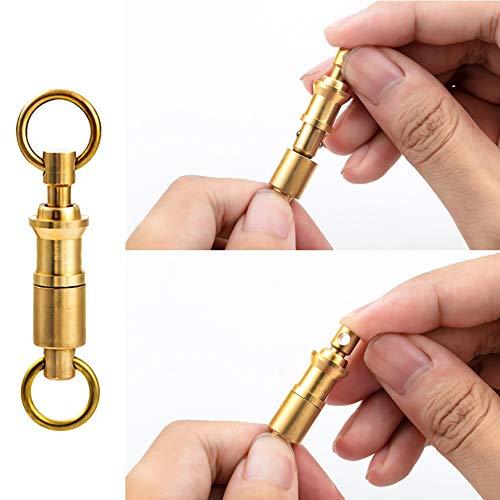 Leezo EDC Schlüsselanhänger Kupfer Karabiner Klettern Messing Doppel-Schlüsselring schnell abnehmbar Schlüsselanhänger