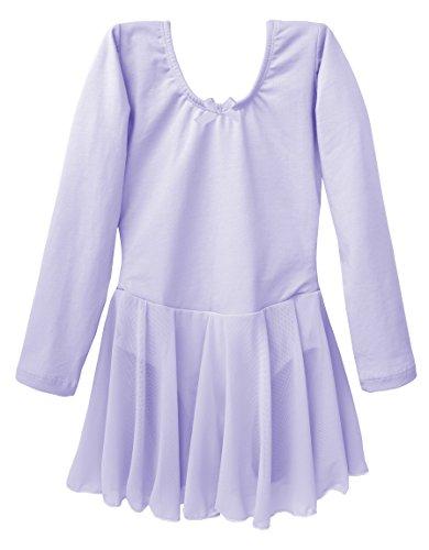 Dancina Mädchen Ballettkleid Langarm aus Baumwolle 104/110 (Frozen Kostüm Ballett)