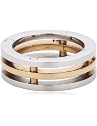 316 L Stainless Steel Ring 3–Joined Rings Surgical Steel Center Rose Gold 8 MM Wide Size Selectable