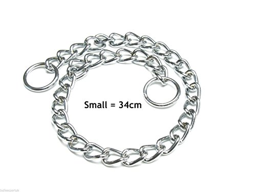 Dog Choke Chain Choker Collar Strong Silver Chrome Steel Metal Training XS to L (46cm = Small) 1