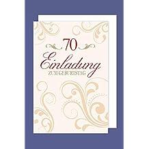 Einladungskarte 70 Geburtstag 5er Packung Ornamente Foliendruck 5 Karten  15x11cm