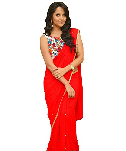 OSLC Red Saree Latest With Designer Blouse Beautiful For Women Party Wear...