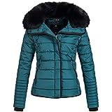 Marikoo Laureen Damen Jacke Steppjacke Winterjacke warm Parka großer Kunstfellkragen XS-XL 5-Farben, Größe:M / 38;Farbe:Petrol