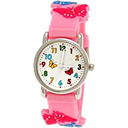 Cute Pure Time Children's Watch-Kids Silicone Bracelet Watch with Butterfly Design Pink Cover + Watch Box