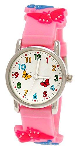 Totenkopf Jungen Kostüme Soldat (Süße Pure Time Kinderuhr,Kinder Silikon Armband Uhr mit Schmetterling Motiv Rosa,inkl.)