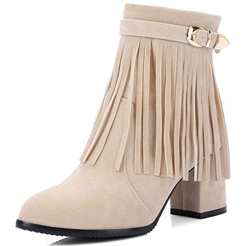 Damen Mid Heel Faux Wildleder Reißverschluss Elegant Runde Zehen Damen Stiefeletten,Beige-EU:38=7.5B(M) US - Cowboy-heels