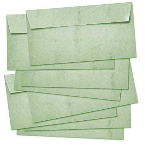 50 BUSTE POSTALI lunghe 100g/m² - adatte per A4/senza finestra/autoadesivo/colorato in design retrò vintage in verde.