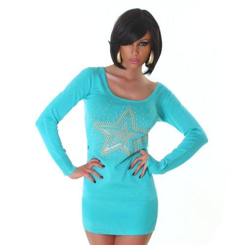 Jela London Damen Strickkleid Kleid Nieten-Stern Onesize trendiges Design Türkis