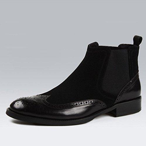 Heart&M punta tonda per il taglio alto business casual maschile glassato Martin stivali in pelle scamosciata Black