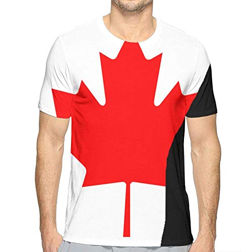 Herren Kanada Flagge T-Shirts Benutzerdefiniert für Mann Lustige T-Shirts Coole T-Shirts Lässig Gedruckt Sommer Neuheit(X-Large,X-Large) -