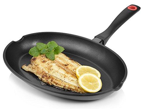 Bluespoon Fischpfanne aus Aluminium für Induktion   Maße der Pfanne 34x23 cm   Mit resistenter Antihaftbeschichtung   Bratpfanne für perfekte Bratergebnisse