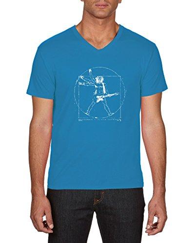 Touchlines Herren T-Shirts Da Vinci Rock Guitar, Blau (Azur 49), X-Large Preisvergleich