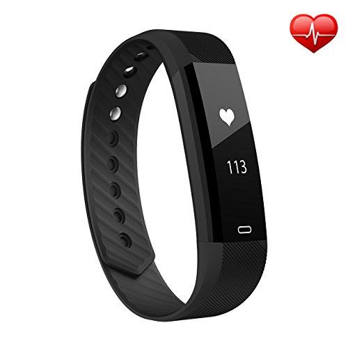 Herzfrequenz Fitness Armband, OMorc Bluetooth Fitness Tracker Activity Tracker Sport Armband SmartWatch Aktivitätstracker smart bracelet mit Pulsmesser, Schlafmonitor, Schrittzähler, Kalorienzähler, SMS Anrufe Reminder für iPhone Samsung iOS und Android Smartphones(Schwarz)