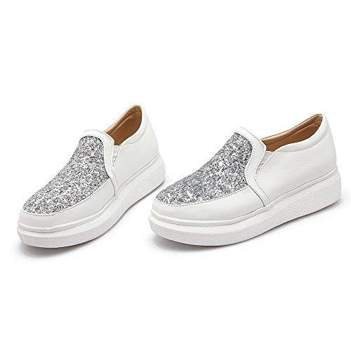 VogueZone009 Damen Ziehen Auf Blend-Materialien Rund Zehe Niedriger Absatz Rein Pumps Schuhe Weiß