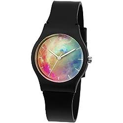 Reloj Ninas Niños Zeiger Cute Relojes analógico tiempo maestro hermosa flor correa reloj para niñas niños reloj de pulsera para hija adecuado para edades 3-12 anos (Starry Night 7-12ans)