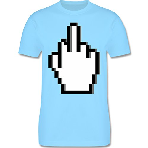 Statement Shirts - Pixel Mittelfinger - Herren Premium T-Shirt Hellblau