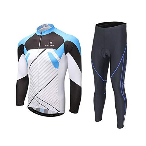 AQWWHY Herren Radsportbekleidung Anzug Winter Thermische Fleece Sportbekleidung Set Langarm Winddicht Jersey Mantel Jacke + 3D Gepolsterte Hose Hose