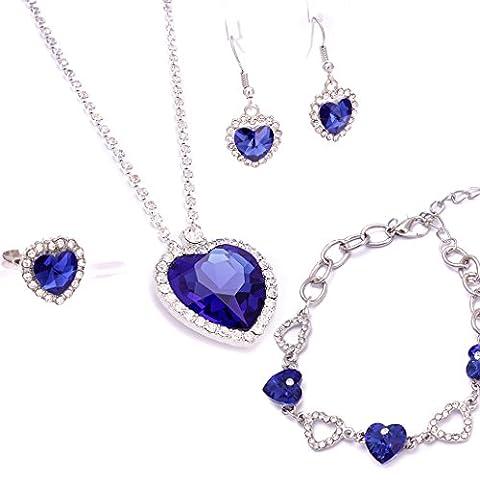 Ladies Gorgeous Titanic Blue Heart Of Ocean Pendant Necklace Bracelet Earrings Ring Set For Women (Necklace+Bracelet+Ring+Earrings)