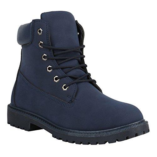 Stiefelparadies Herren Worker Boots Leicht Gefütterte Schuhe Schnürboots Outdoor Schnürschuhe Profilsohle Wildleder-Optik Schnürer Flandell Dunkelblau Camiri