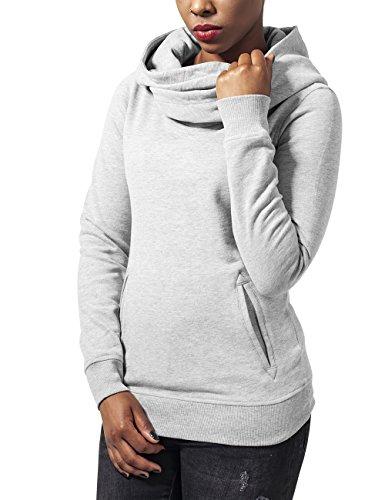 Urban Classics Ladies High Neck Hoody, Sweat-Shirt àCapuche Femme Gris - Grau (Grey 111)