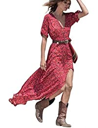 8c4c562eb7a8 ODJOY-FAN Donna Vestito Chiffon Floreale Abiti Lunghi Eleganti - Estivi  Vestiti Casual Vintage Maxi