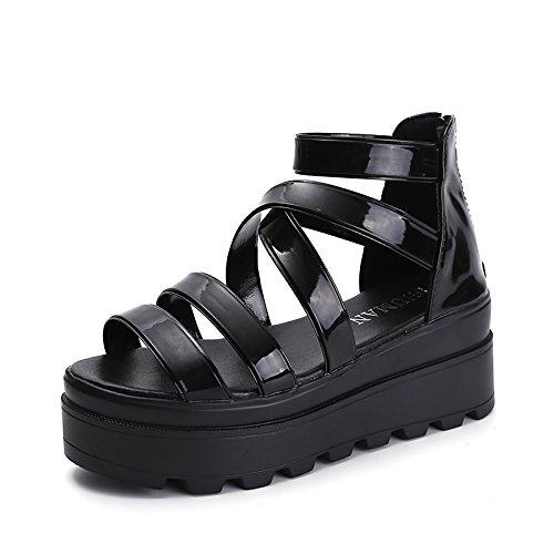 Lgk & FA dété Sandales pour femme le fond épais Muffin cales Chaussures étanche Taiwan les étudiants noir