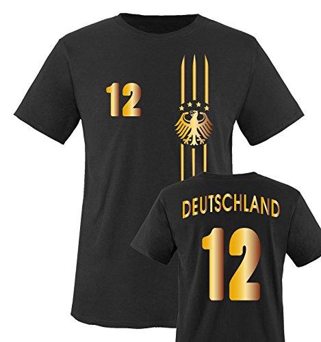 TRIKOT - MOTIV1 - DEUTSCHLAND - 12 - Kinder T-Shirt - Schwarz / Gold Gr. 122-128 (Damen-t-shirt Götze)