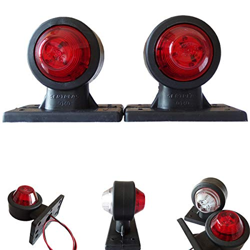 2stk. LED 12V - 24V Volt Begrenzungsleuchten Positionsleuchten Seitenmarkierung LKW PKW Anhanger Rot Weiss Gummi - Rot Weiß Gummi